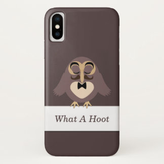 Customize Cute Brown owl with Mustache What a Hoot iPhone X Case