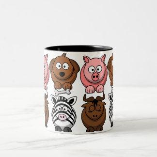 Customize Cute Child Animals Two-Tone Coffee Mug
