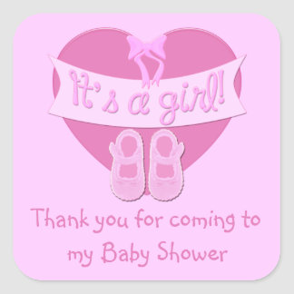 Customize Cute Heart Baby Girl Shower Thank you Square Sticker