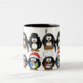 Customize Cute Penguins Two-Tone Coffee Mug