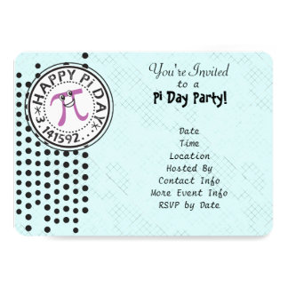 Customize - Cute Polka Dot Happy Pi Day Party Card