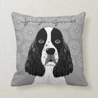 Customize English Springer Spaniel Dog on Grey Throw Pillow