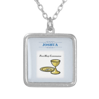 Customize, First Communion Body and Blood Silver Plated Necklace