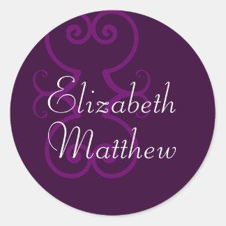 Customize First Names Elegant Purple Seal Sticker