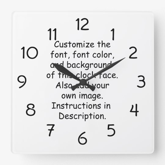 Customize Font, Font Colour, Background, Image Square Wall Clock