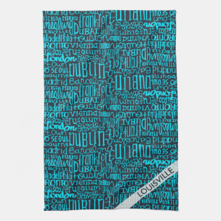 Customize For Your City Type Design in blue Hand Towel