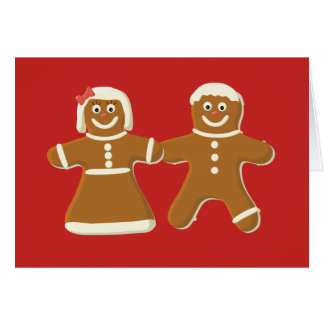 Customize Gingerbread Man and Woman on Red Card