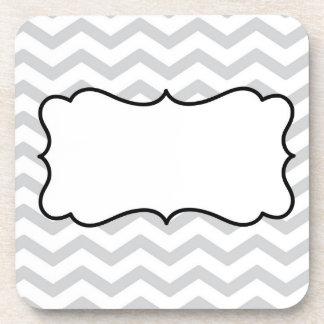 Customize Gray And White Chevron Design Beverage Coasters