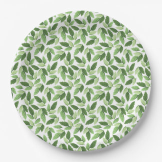 Customize Green Leaf Pattern Paper Plate