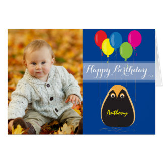 Customize Happy Birthday with a Lucky Owl Greeting Card