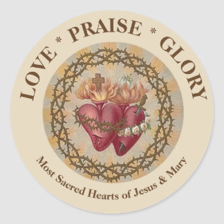 CUSTOMIZE  Hearts of Jesus & Mary Roses Thorns Classic Round Sticker