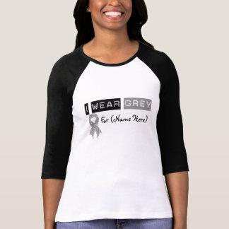 Customize I Wear Grey Ribbon Brain Cancer Tee Shirts