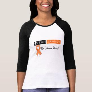 Customize I Wear Orange Ribbon Leukemia T-shirts