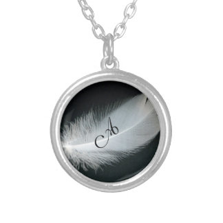 Customize It Fancy Monogram on Feather Necklace