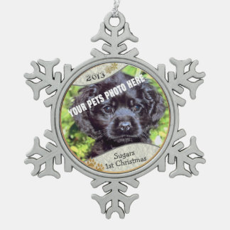 Customize it! - Puppys First Christmas Keepsake #2 Pewter Snowflake Ornament