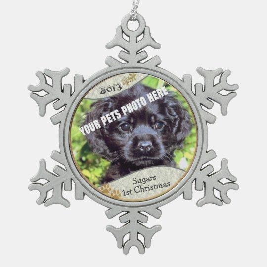 Customize it! - Puppys First Christmas Keepsake #2 Snowflake Pewter Christmas Ornament