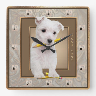 Customize It! Westie Puppy Ornate Gold Wall Clock