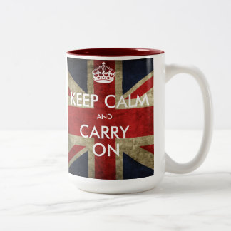 Customize Keep Calm and Carry On Two-Tone Coffee Mug