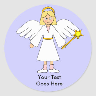 Customize Me -- Children's Nativity Angel Blonde Classic Round Sticker