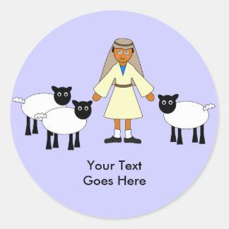 Customize Me -- Children's Nativity Shepherd Boy Classic Round Sticker