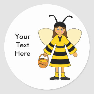 Customize Me -- Girl in Bee costume Classic Round Sticker