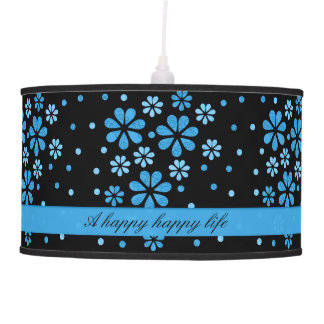 Customize Modern Blue Flowers And Dots Black Pendant Lamp