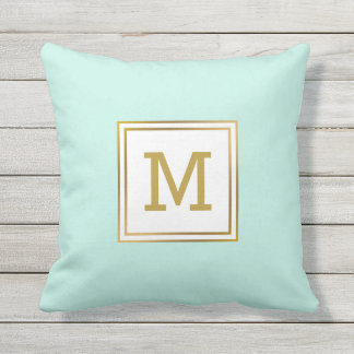 Customize Modern Gold Monogram Mint Green Preppy Throw Pillow