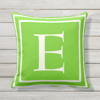 Customize Monogram Text on Green Outdoor Pillow