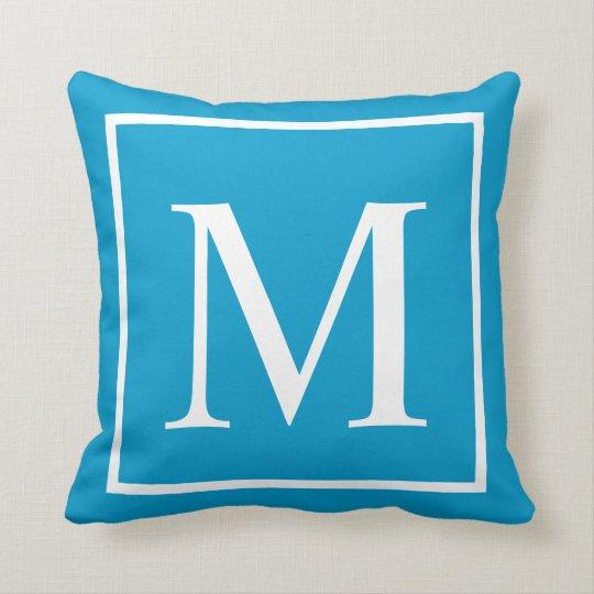 Customize monogram Turquoise blue Throw Pillow