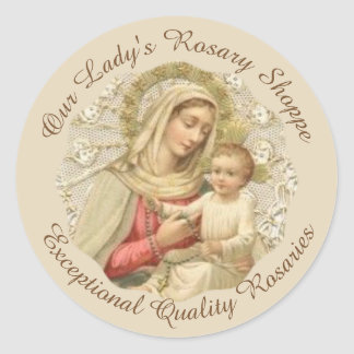 CUSTOMIZE Our Lady of the Rosary Baby Jesus Classic Round Sticker