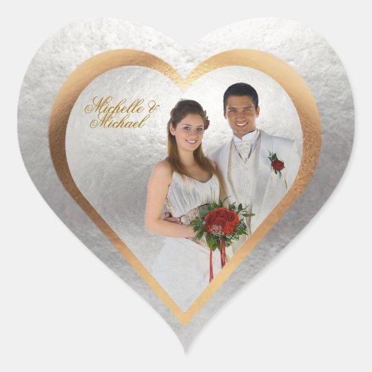 Customize Photo Wedding Gold Silver Heart Sticker