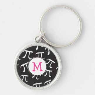 Customize PINK Monogram Pi - Pi Day Gift Silver-Colored Round Keychain