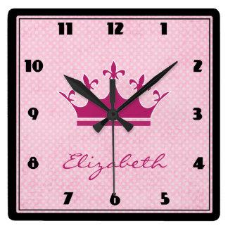 Customize Pink Tiara with Polka Dots Square Wall Clock