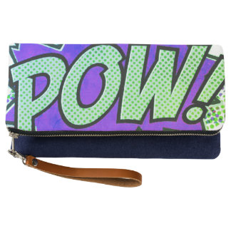 customize POW purple green hand clutch