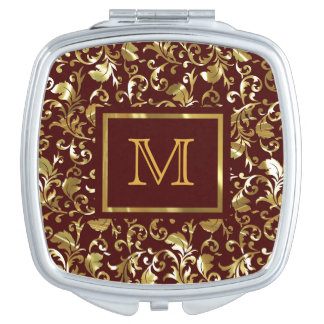 Customize ProductDark Brown And Gold Vintage Damas Travel Mirrors