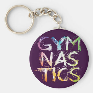 Customize Purple Gymnastics Starburst Basic Round Button Keychain