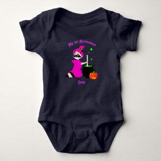 Customize Raccoon Witch Baby 1st Halloween Baby Bodysuit