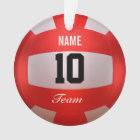 Customize Red Volleyball Ornament