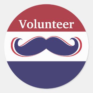 customize red, white and blue mustache design round sticker