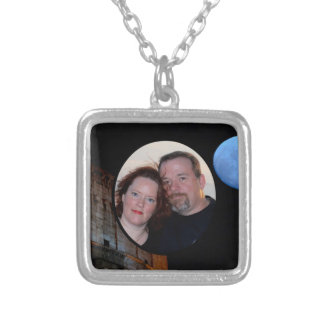 Customize Rome Oval Frame with  Photo Silver Plated Necklace