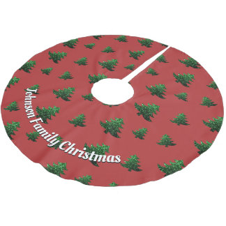Customize Sparkly Christmas tree green pattern Brushed Polyester Tree Skirt