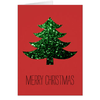 Customize Sparkly Christmas tree green sparkle Red Card