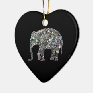 Customize Sparkly colourful silver mosaic Elephant Ceramic Heart Ornament