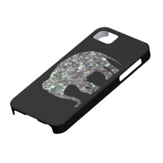Customize Sparkly colourful silver mosaic Elephant iPhone 5 Covers