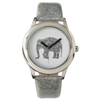 Customize Sparkly colourful silver mosaic Elephant Wristwatches