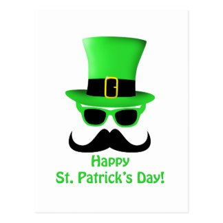 Customize St Patrick s Day Mustache and Top hat Post Card