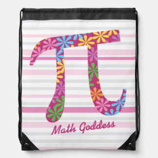 Customize Striped Pink Math Spring Pi Symbol Gift Drawstring Bag