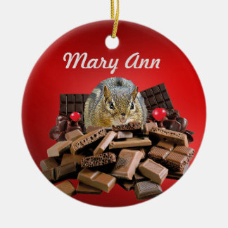 Customize Sweetest Day Chocolate Chipmunk Ceramic Ornament
