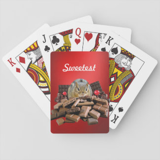Customize Sweetest Day Chocolate Chipmunk Playing Cards