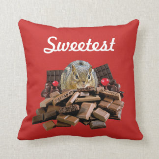Customize Sweetest Day Chocolate Chipmunk Throw Pillow